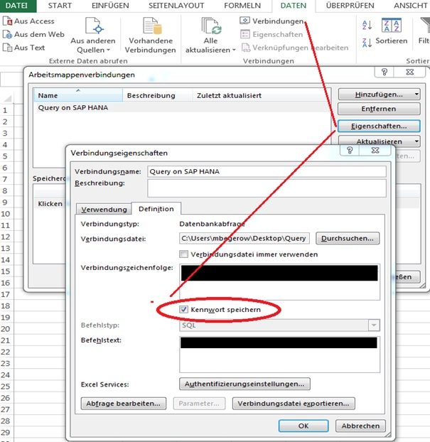 ODBC Passwort anzeigen